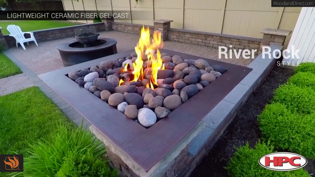 Gas Fire Pit With River Rock By Hpc