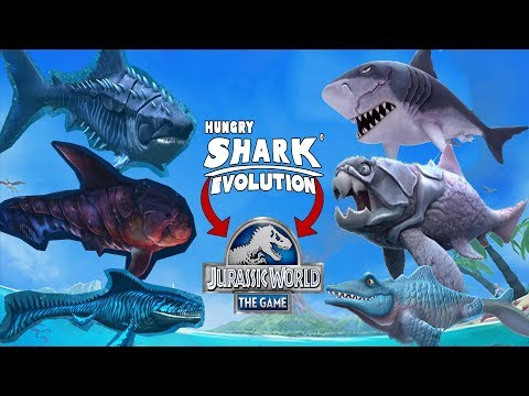 CREO Y LUCHO CON MI EQUIPO DE Hungry Shark Evolution EN Jurassic World The Game!