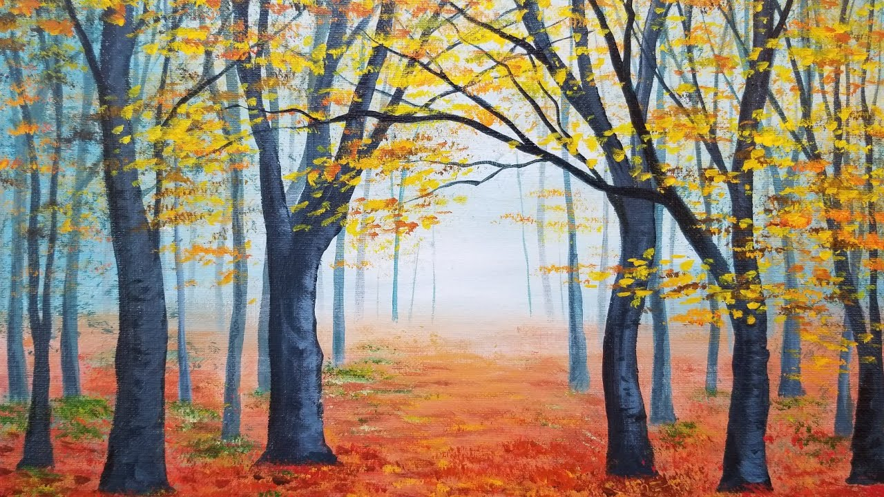 easy autumn forest landscape acrylic