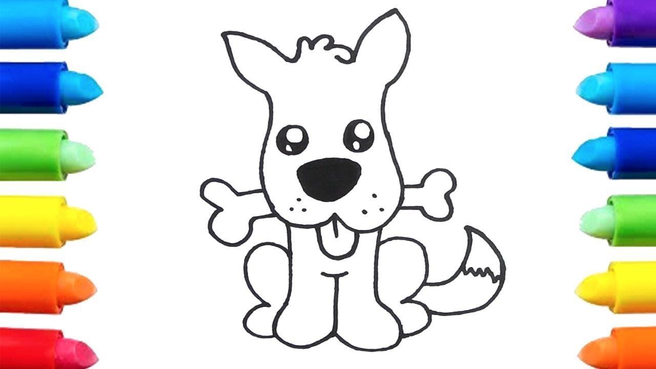 Aprende a Dibujar un Perrito comiendo su Hueso