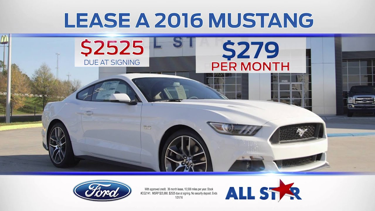 Ford Mustang Lease >> All Star Ford January Tv Commercial 2016 Ford Mustang Youtube