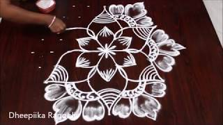 easy rangoli design muggulu  with 9x4 dots * latest kolam design for friday * simple rangoli