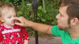 Little Cute Girl Is Really Proud Of Dad's Nose Trick
