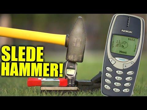 Smashing Nokia 3310 with Massive Hammer!
