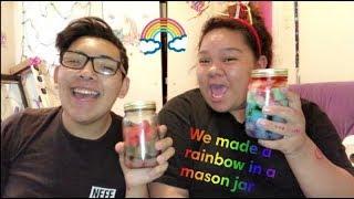 Making a DIY Rainbow Mason Jar *funny* | Destiny