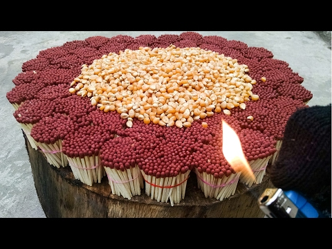 EXPERIMENT 20000 MATCHES VS POP CORN   Amazing Crazy Experiment