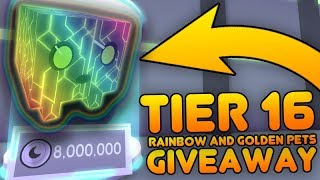 I GAVE RAINBOW SHOCK CORES FOR THE CHALLENGE! RAINBOWS TIER 16 GIVEAWAYS IN PET SIMULATOR! - ROBLOX