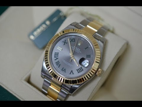 Rolex Datejust 116333 Slate Green Roman Dial two tone steel and yellow gold luxury watch unboxing