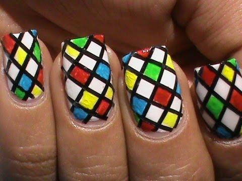 color blocking nail polish design