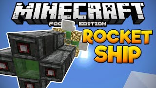 working rocket ship in mcpe 0 15 6 slime block creation minecraft pe pocket edition