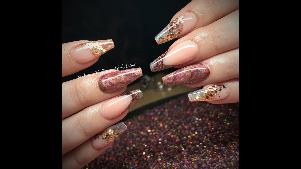 Rose Gold Acrylic Nails   Nail Art - YouTube