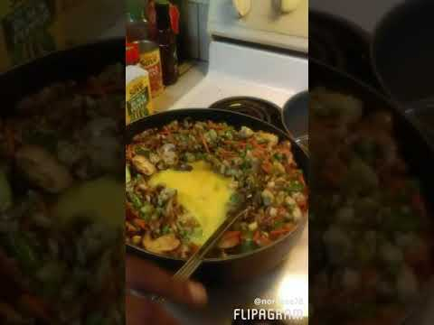 Stuffed Pineapples with shrimp fried cauliflower rice, shrimp, honey cilantro nd lime salmon