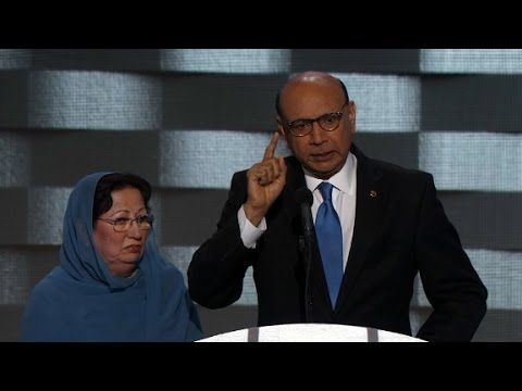 Dad of fallen Muslim soldier's powerful DNC speech (Khizr Kh