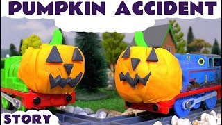 halloween thomas and friends toy trains pumpkin prank play doh accident family fun toys episode tt4u
