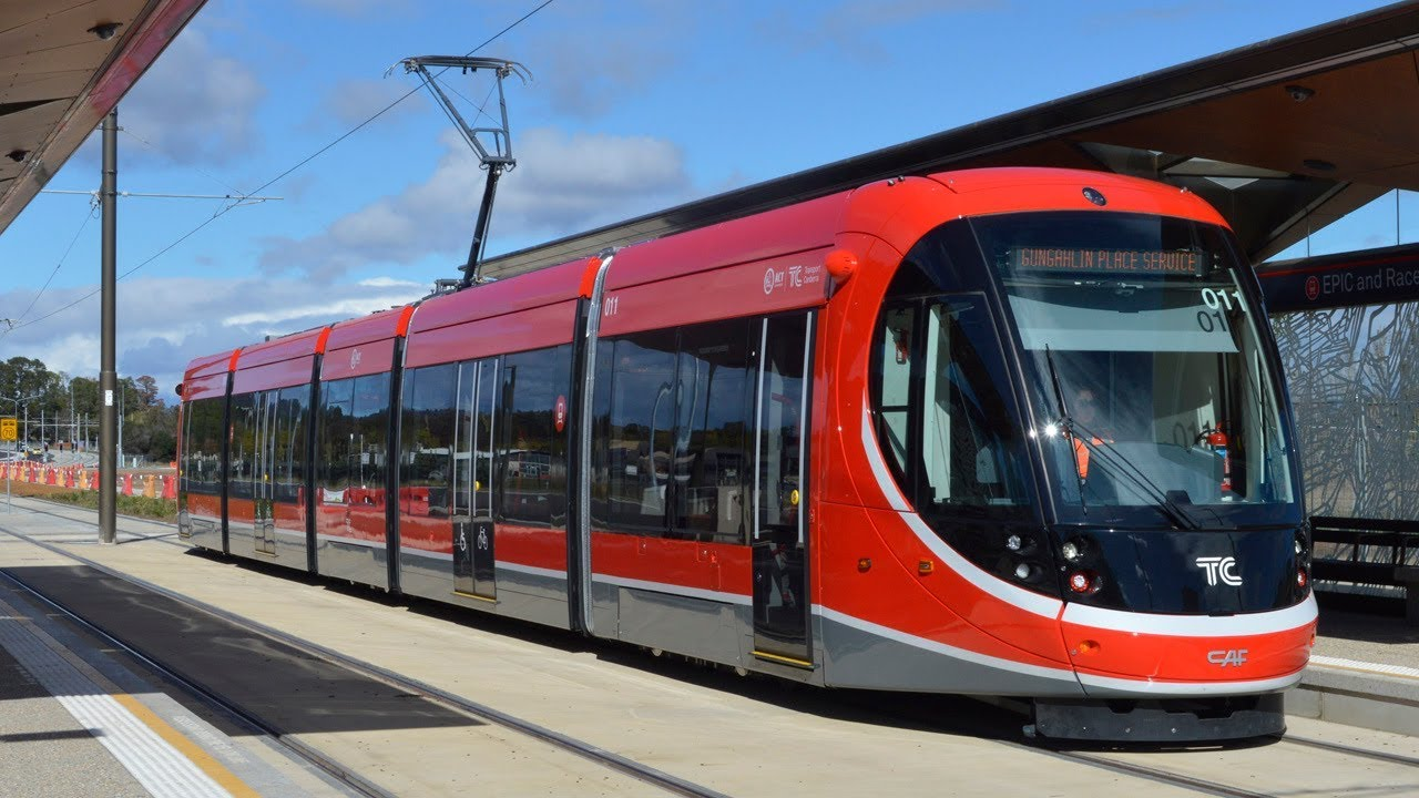 Trams on the new Canberra Light Rail - Canberra Metro - YouTube