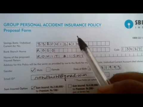 SBI Accident Insurance plan proposal form || in Hindi ||