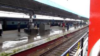 78: IRFCA: Train in Rain- LHB Bangalore Rajdhani crosses Satavahana express at Kazipet Junction