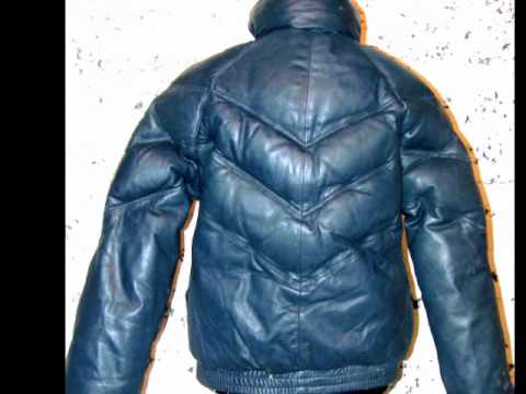 Goose Country Brand Leather Vintage 80s V-stitch Puffer Goose Down ...