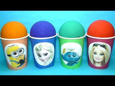 Кинетический Песок Сюрпризы Игрушки из мультиков Миньоны Смурфики Барби Новые серии Видео для детей