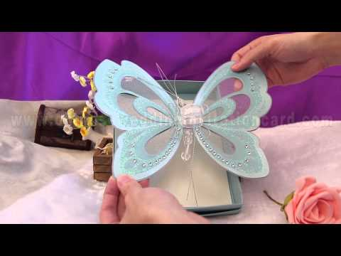 Gift  blue butterfly bring the invitation card to you