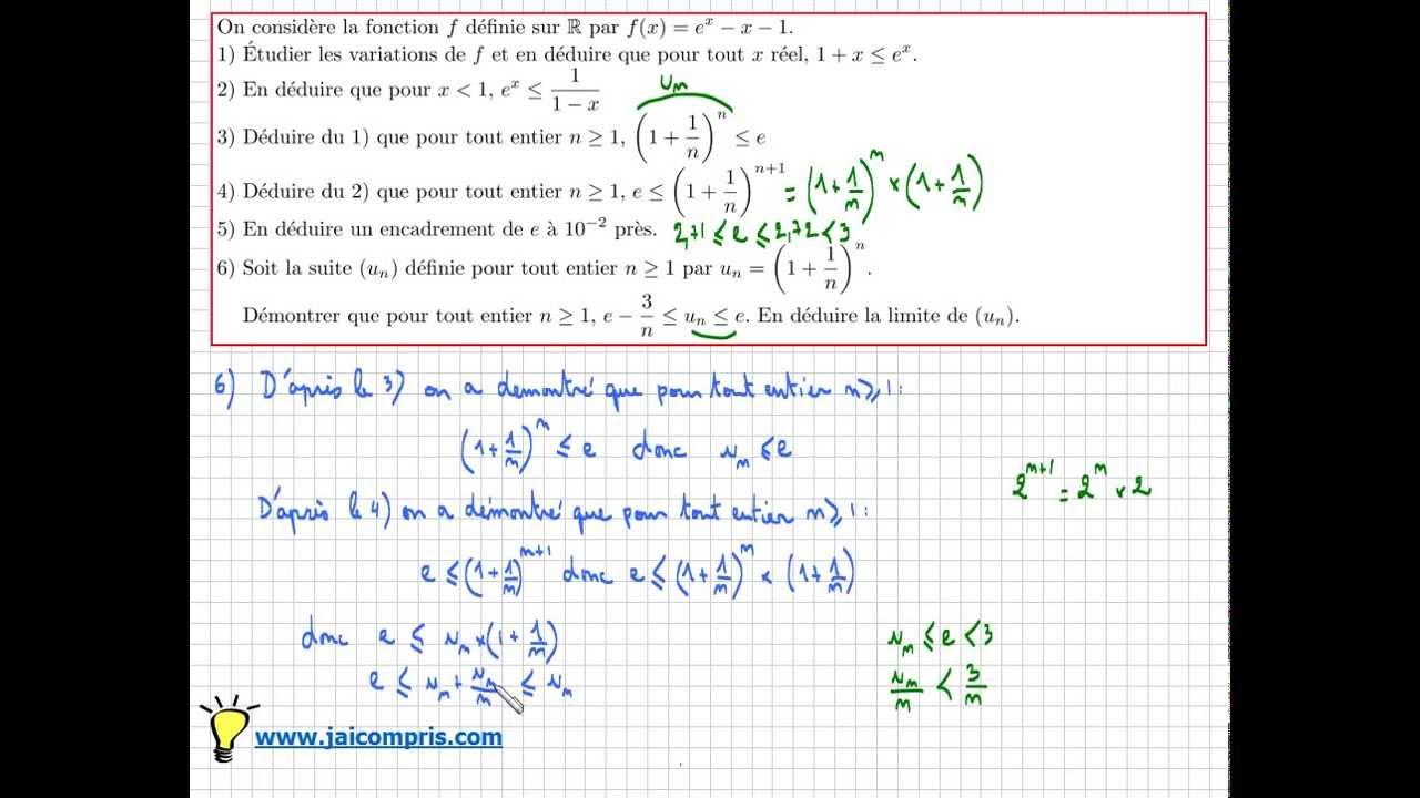 Fonction exponentielle Exercice Bac suite converge vers e ...