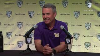 Football: Chris Petersen Podium Session at 2019 Pac-12 Football Media Day