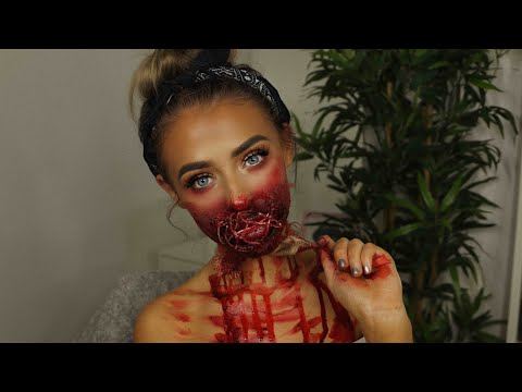 SEWED UP MOUTH HALLOWEEN LOOK!