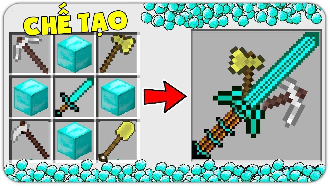 T Gaming Thử Thách Chế Tạo Thanh Kiếm Tổng Hợp Vip Nhất Minecraft ?? Đồ Vip Mà Quá Đơn Giản