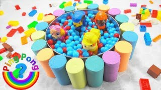Learn Color with Kinetic Sand and Paw Patrol Toys | Nursery Rhymes & Kids Songs