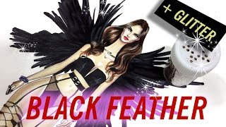 DRAWING BLACK FEATHER+LINGERIE. Victoria