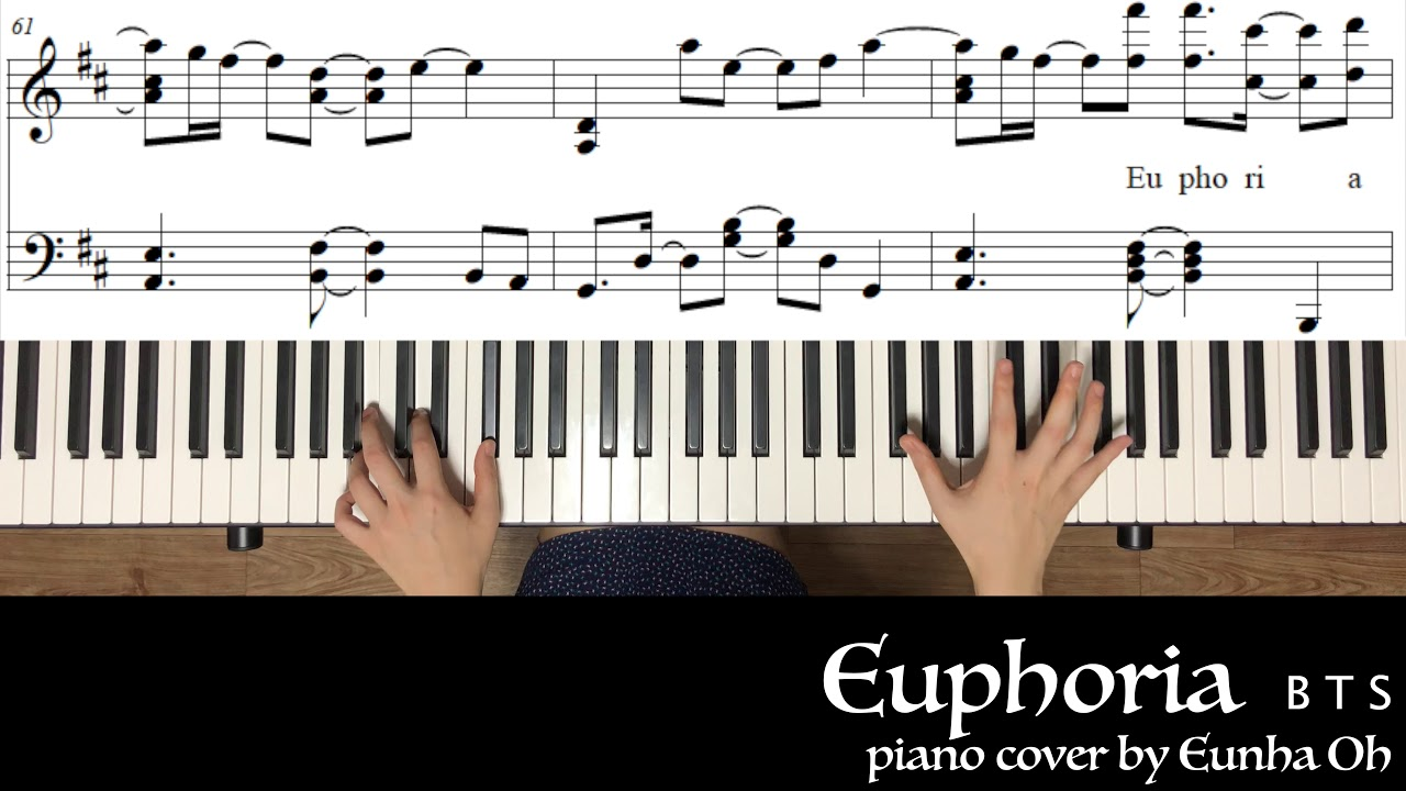 [K-POP] Euphoria - BTS (유포리아 - 방탄소년단) easy piano tutorial, piano sheet  music, Euphoria piano cover