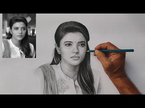 Aishwariya rajesh pencil drawing video/ Tamil heroin pencil art/live art chennai