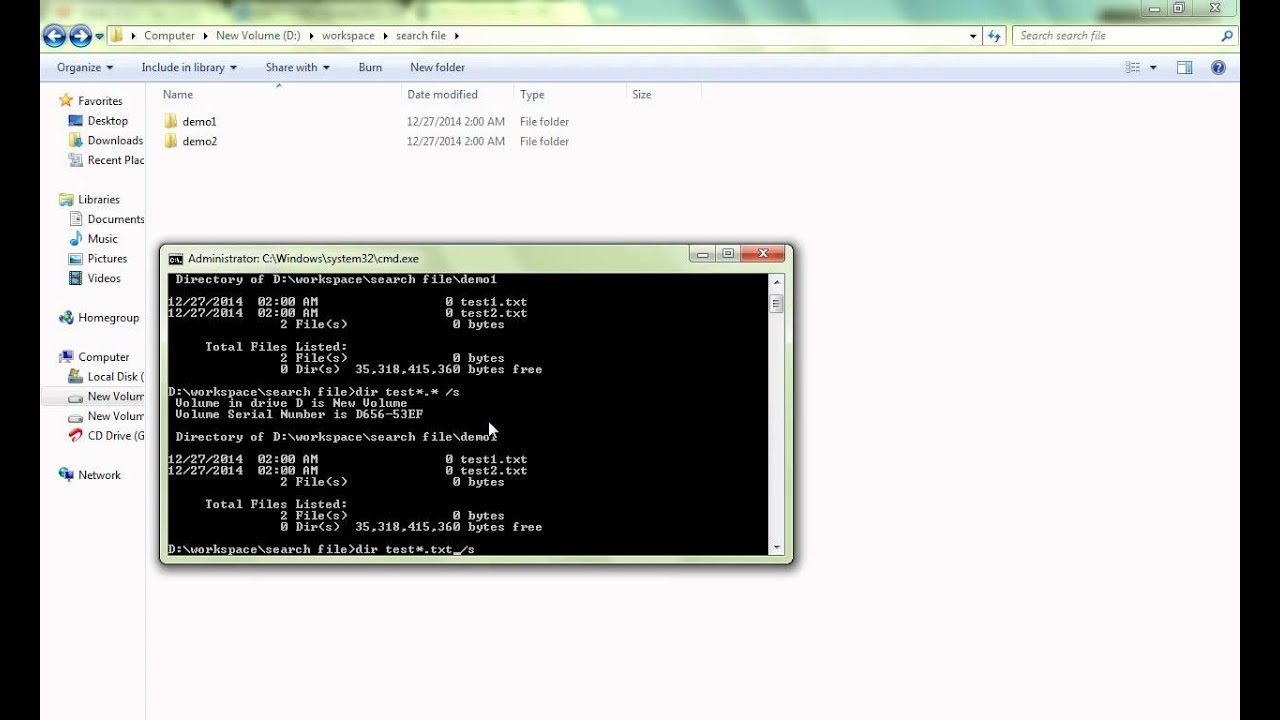 MS DOS COMMAND TO SEARCH FILE IN WINDOWS DEMO