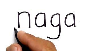 WOW, cara menggambar NAGA dengan kata naga