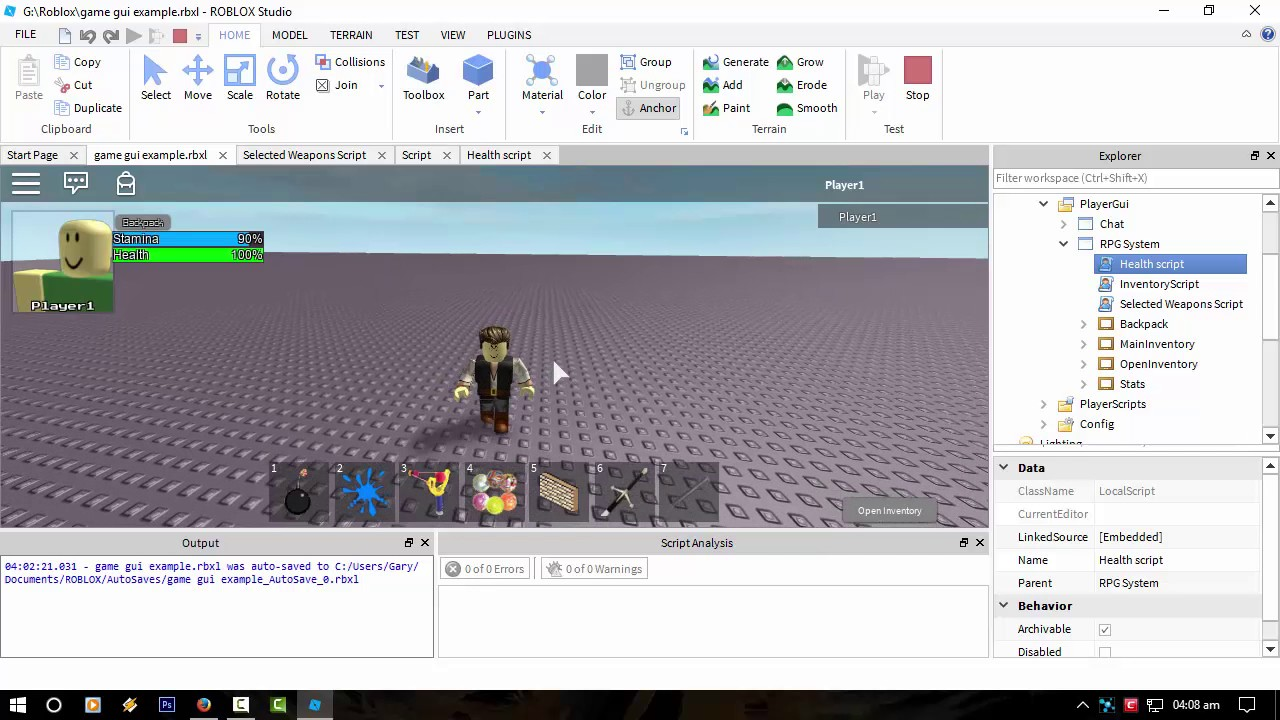 Roblox Projects Custom Inventory System With Added Stamina