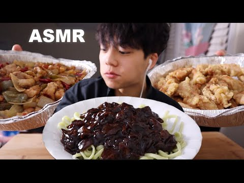 asmr-black-bean-noodles-sweet-&-sour-chicken-kung-pao-chicken-짜장면-치킨-먹방-(eating-sounds)