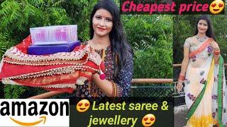 Amazon festivewear/ Partywear Saree haul || Amazon jewellery haul Bangles, Necklace| #Onlineshopping
