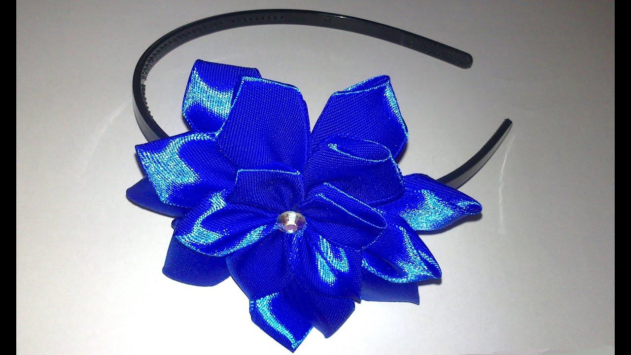 Фото цветка канзаши синего 2