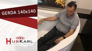 Угловая акриловая ванна HusKarl GERDA 140x140 видео обзор