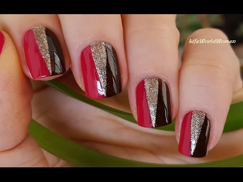 Tape nail art 1 elegant brown gold red nails design youtube tape nail art 1 elegant brown gold red nails design prinsesfo Image collections