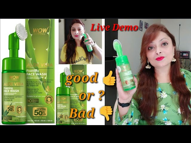 Wow Aloevera Foaming face wash with Built in Face Brush // Honest Review + Live Demo 100% Effective