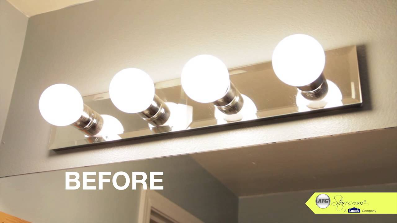 Bathroom Makeover Tip Replace Your Bathroom Lighting YouTube - Long bathroom light fixtures