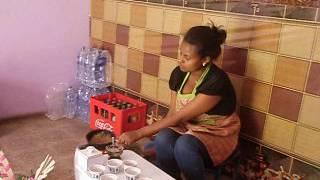 Ethiopian woman making coffee in Mekele