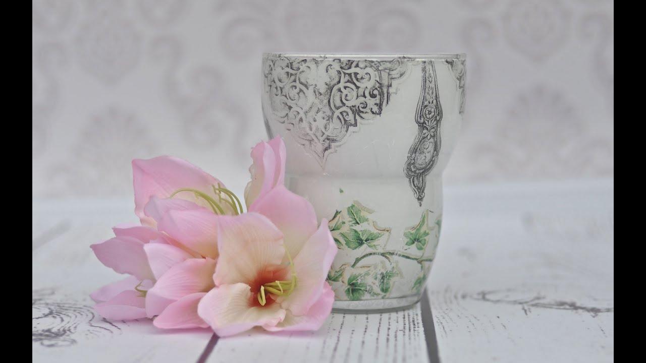 Decoupage tutorial szklany wazon z bluszczem - YouTube