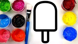 Coloring Simple Popsicle with Paint, Painting Pages for Children to learn to color with paint 💜 (4K) thumbnail