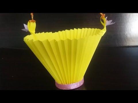 DIY paper Basket for Room Decoration #paper idea ||Easy craft