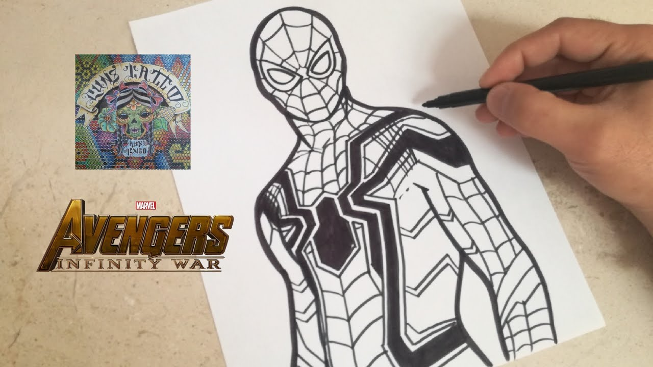 Como dibujar a iron spider de avengers infinity war how to draw iron spider infinity war