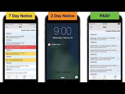 Bill Reminders Tracking Free Iphone App