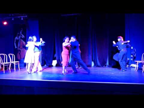 "Seattle dancers performing tango skit ""Cabeceo"" at club Sur milonga May 29 2016"