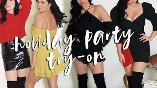 WINTER HOLIDAY PARTY OUTFIT TRY-ON // ELLEKAE